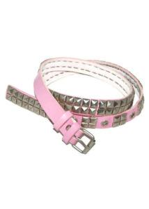 2 soros fém szegecses pink műbőr öv, fém csattal