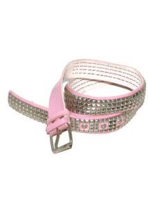 4 soros fém szegecses pink műbőr öv, fém csattal