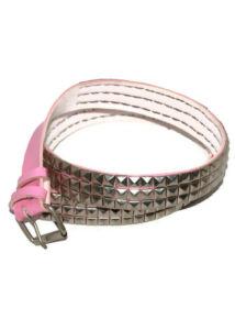 3 soros fém szegecses pink műbőr öv, fém csattal