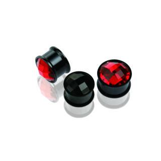 Piercing, Tágító (dugó) belső menetes, cirkon kővel fekete PVD