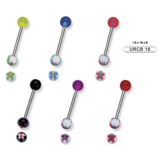Piercing, Nyelvékszer, UV fénynél világító műanyag golyóval