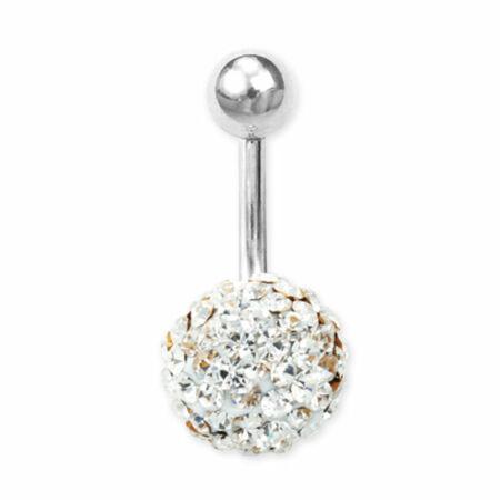 Piercing, Köldökékszer, 1 epoxys, kristályokkal teli gömbbel
