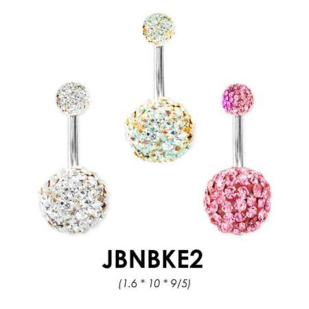 Piercing, Köldökékszer, 2 epoxys, kristályokkal teli gömbbel