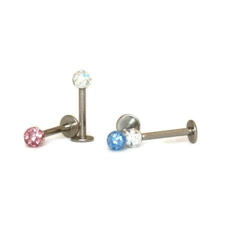 Piercing, Szépségpont, 316L orvosi acél, apró kristályokkal