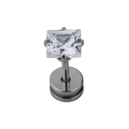 Piercing, Áltágító, cirkon kővel, 316L orvosi acél