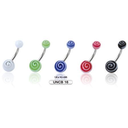 Piercing, Köldökékszer, UV fénynél világító műanyag golyókkal