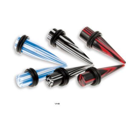 Piercing, Tágító, UV fényben világító, kaucsuk gyűrűkkel, akril