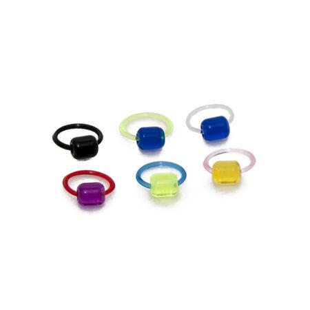 Piercing, Karika formájú ékszer, UV fénynél világító, bőrbarát műanyag
