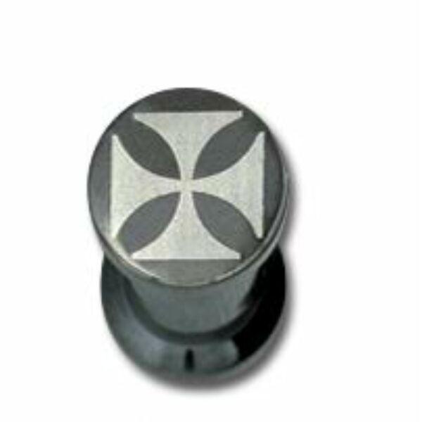 Piercing, Tágító (dugó) belső menetes, fekete PVD