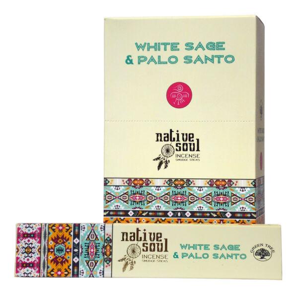 Prémium Füstölő, Green Tree Native Soul White Sage & Palo Santo, 15 gr