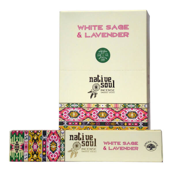 Prémium Füstölő, Green Tree Native Soul White Sage & Lavender, 15 gr