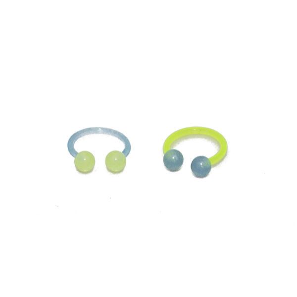 Piercing, patkó formájú ékszer, bőrbarát műanyag, 1.6 * 12 * 5, zöld szár, kék golyó