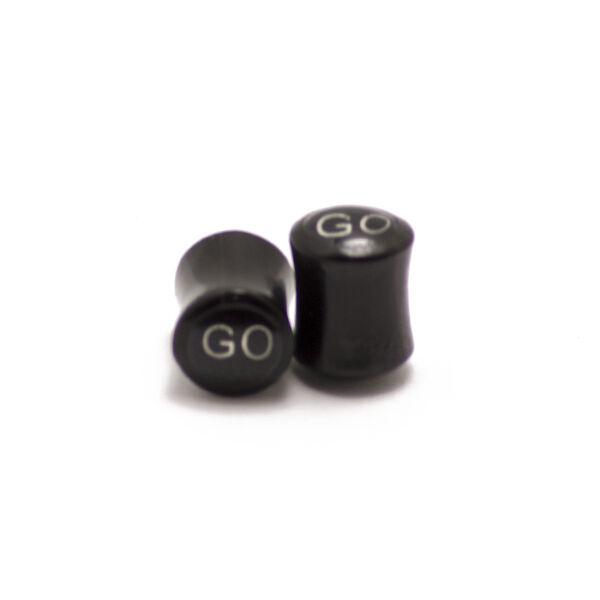 Piercing,  Fekete szaru fültágító figurával, 8 mm