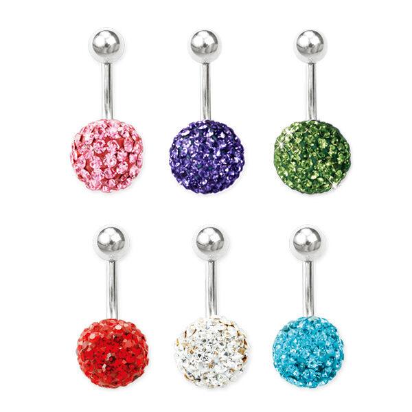 Piercing, Köldökékszer apró kristály kövekkel,  316L orvosi acél