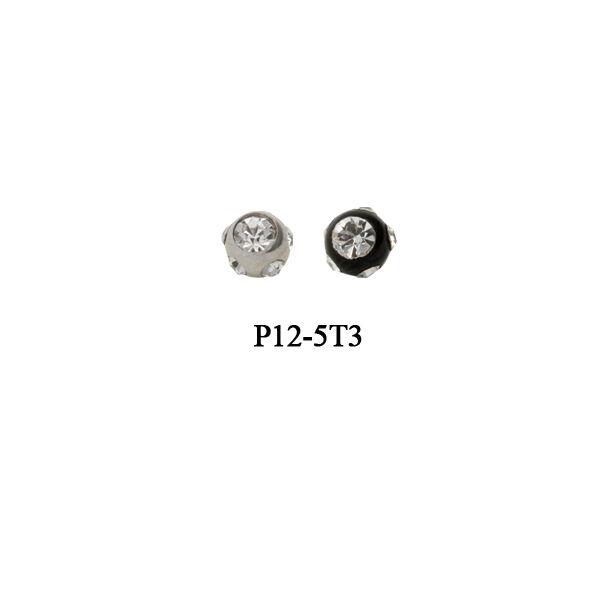 Piercing, Golyó, cirkon kövekkel, 316L orvosi acél