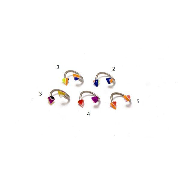 Piercing, twister, UV fényben világító tüskékkel